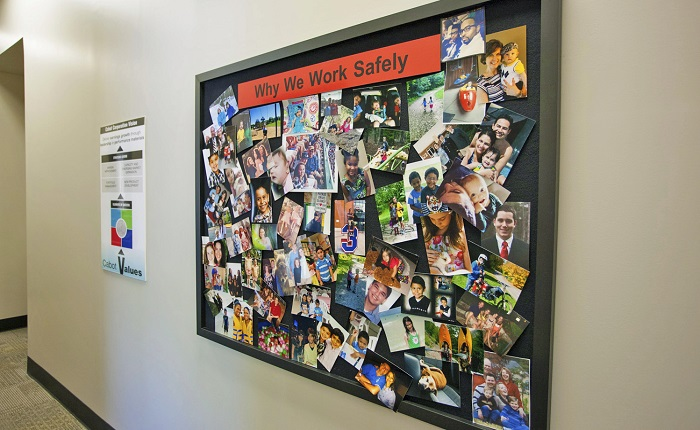 """Why we work safely"" photo board"