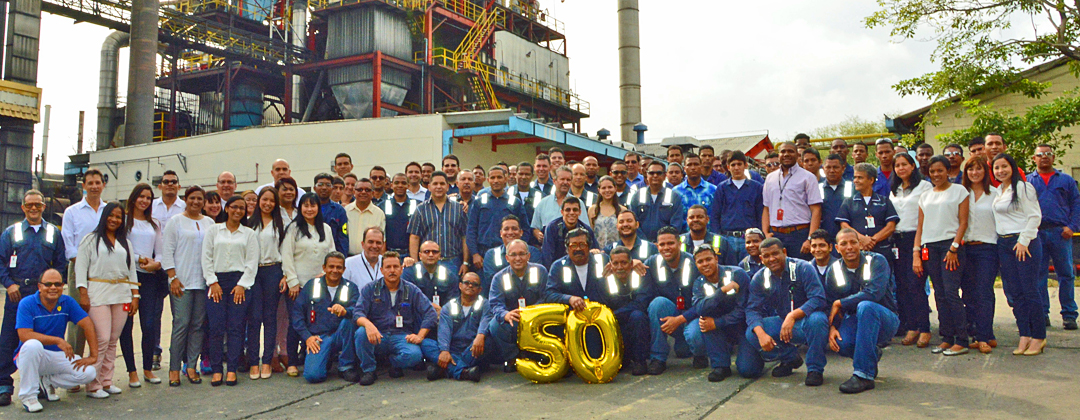 Employees celebrate the 50th anniversary