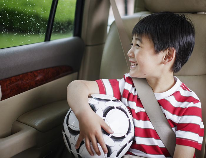 interior cabin of a car with a child